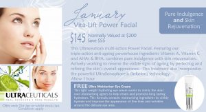 January 2017 Special - Vita-Lift Power Facial with bonus FREE Ultra Moisturiser Eye Cream. This Ultraceuticals multi-action Power Facial, Featuring our triple-action anti-ageing powerhouse ingredients Vitamin A, Vitamin C and AHAs & BHA, combines pure indulgence with skin rejuvenation. Actively working to reverse the visible signs of ageing by perfecting and refining the skin's overall appearance. This treatment also incorporates the powerful UltraSonophoresis (Infusion) technology.Allow 1 hour