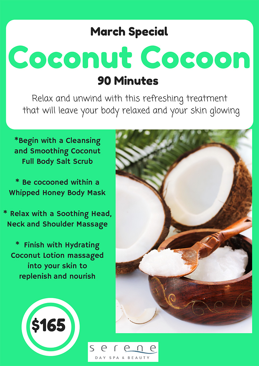 *Begin with a Cleansing and Smoothing Coconut Full Body Salt Scrub * Be cocooned within a Whipped Honey Body Mask * Relax with a Soothing Head, Neck and Shoulder Massage * Finish with Hydrating Coconut Lotion massaged into your skin to replenish and nourish