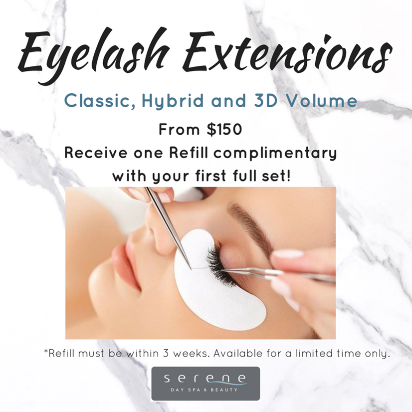 Classic, Hybrid and 3D Volume. From $150. Receive one Refill complimentary with your first full set! Refill must be within 3 weeks. Available for a limited time only.